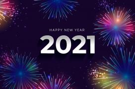 喜庆烟花四射的2021卡片素材