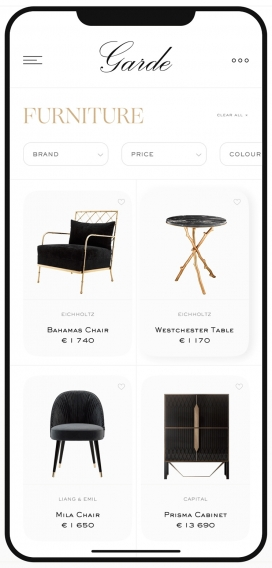 Garde在线家具商店APP界面主页设计