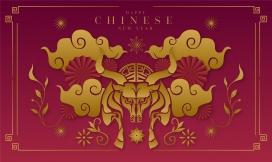 中国风牛年海报素材