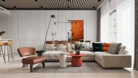 采用炽烈橙色为风格的中性空间室内设计