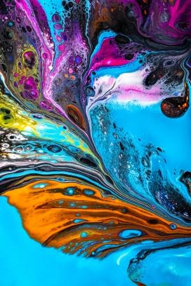 抽象的流光溢彩液态纹理图