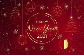 新年快乐-2021喜庆金色素材下载