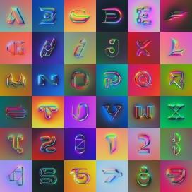 时尚立体的插画型字母与数字