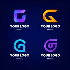 时尚五彩字母G演变标志素材下载