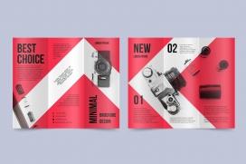 时尚红色系数码相机宣传册素材下载