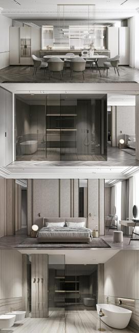 塑造现代灰色阴影内饰的空间设计