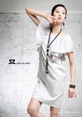 09韩国大荷叶袖时尚优雅连衣裙